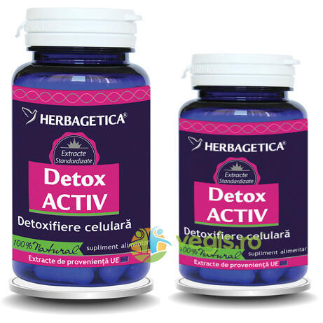 Detox Activ 60cps+10cps Pachet 1+1 Promo HERBAGETICA