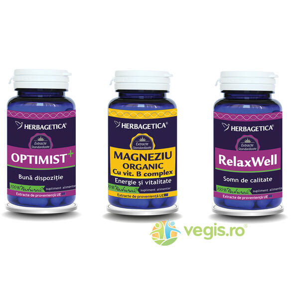 Pachet Neuro Nature: Optimist 60cps+Magneziu Organic 60cps+Relax Well 60cps HERBAGETICA