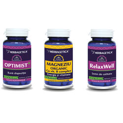 Pachet Neuro Nature: Optimist 60cps+Magneziu Organic 60cps+Relax Well 60cps