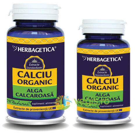 Calciu Organic 60cps+10cps Pachet 1+1 Promo HERBAGETICA