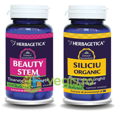 HERBAGETICA Pachet Beauty Stem 60Cps+Siliciu Organic 30Cps Promo