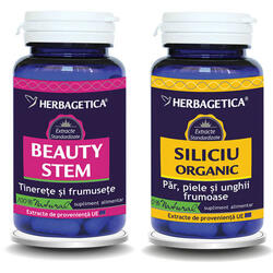 Pachet Beauty Stem 60Cps+Siliciu Organic 30Cps Promo HERBAGETICA