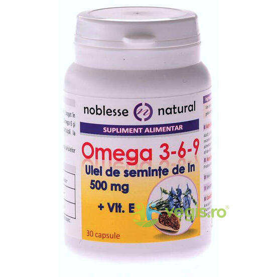 Omega 3-6-9 Ulei Seminte In 500mg + Vitamina E 30cps NOBLESSE NATURAL