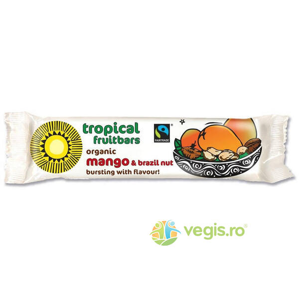 Baton Tropical Mango si Nuci Braziliene Ecologic/Bio 40g TROPICAL WHOLEFOODS