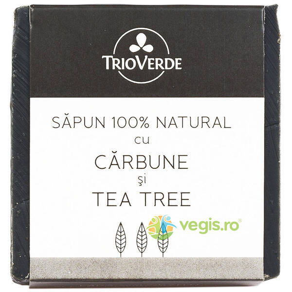 Sapun Natural Cu Carbune Si Tea Tree 110Gr TRIO VERDE