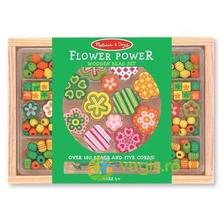 Set margele din lemn Flower Power 4 ani+ Melissa and Doug