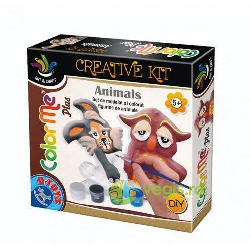 Color me plus - Set de modelat si colorat figurine de animale D TOYS