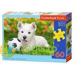 Puzzle 60 Castorland - White Terrier and football