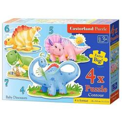 Puzzle 4 in 1 Castorland - Baby Dinosaurs