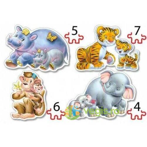 Puzzle 4 in 1 Castorland - Jungle Babies
