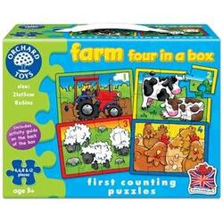 Set 4 Puzzle La ferma (4,6,8 si 12 piese) - Farm Four in a box ORCHARD TOYS