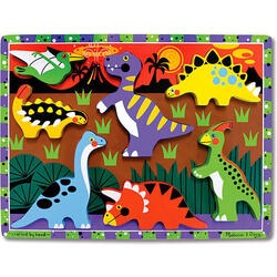 Puzzle lemn in relief Dinozauri 2 ani+ Melissa and Doug