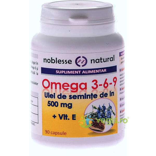 Omega 3-6-9 Ulei Seminte In 500mg + Vitamina E 90cps NOBLESSE NATURAL
