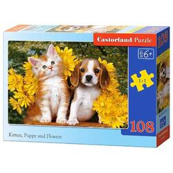 Puzzle 108 Castorland - Kitten, Puppy and Flowers