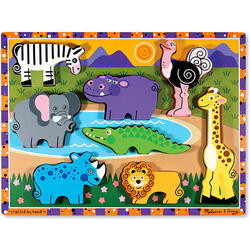 Puzzle lemn in relief Safari 2 ani+ Melissa and Doug