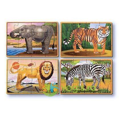 Set 4 puzzle lemn in cutie animale salbatice 3 ani+ Melissa and Doug