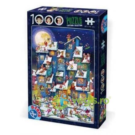 Puzzle 1000 Cartoon Collection - Distractie De Iarna Pe Acoperis (61218-07)