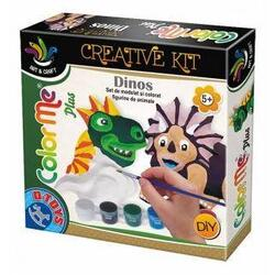 Color me Plus - Dinos. Set de modelat si colorat figurine de animale D TOYS