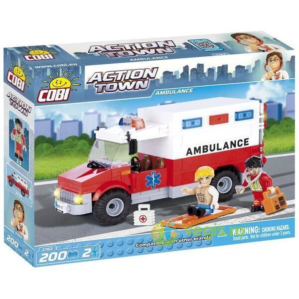 Action Town Cobi 200 Pcs - Ambulanta