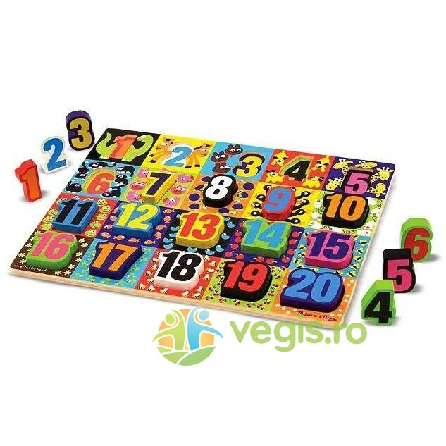 puzzle lemn in relief numere de la 1 la 20. 2 ani+ melissa and doug