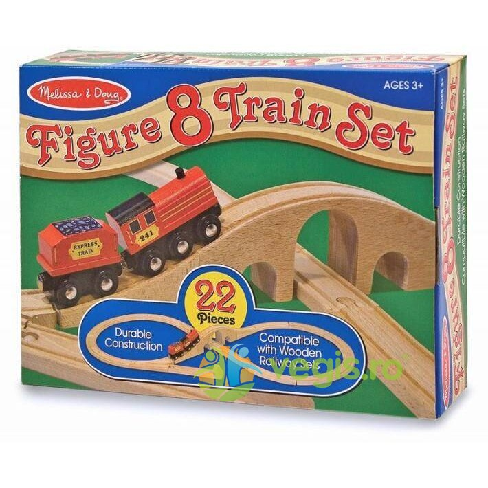Tren lemn si circuit 8 3 ani+ Melissa and Doug
