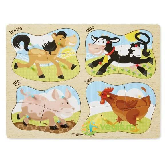 Puzzle lemn 4 in 1 Ferma 2 ani+ Melissa and Doug