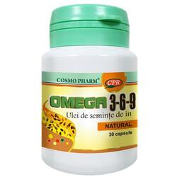 Omega 3-6-9 Ulei Seminte In 500mg (Flax Seed Oil) 30cps COSMOPHARM