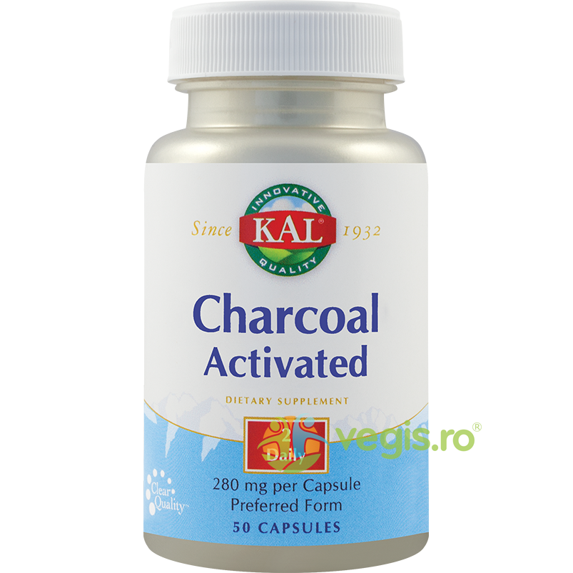 KAL Charcoal Activated (Carbune medicinal activ) 50Cps
