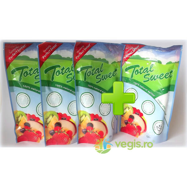Pachet 3+1 GRATIS Total Sweet 225g - 100% Xylitol Natural