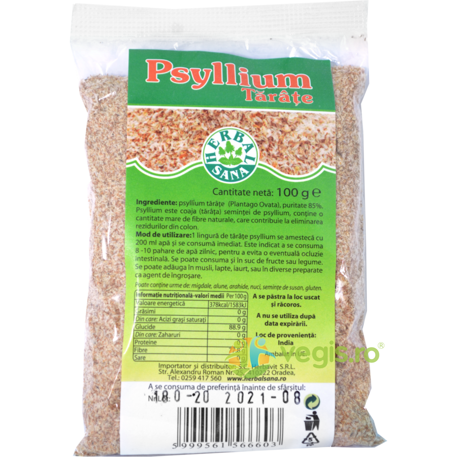 Tarate de Psyllium 100g imagine produs 2021