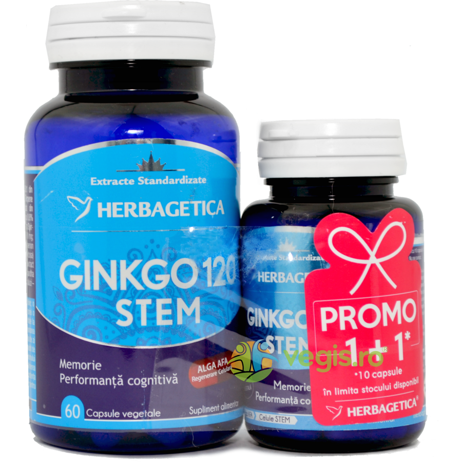 HERBAGETICA Ginkgo 120 Stem 60cps+10cps Pachet 1+1 Promo