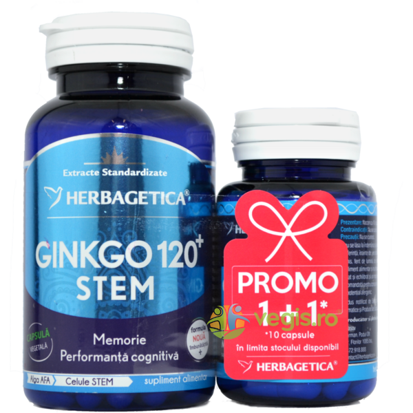 Ginkgo 120 Stem 60cps+10cps Pachet 1+1 Promo HERBAGETICA