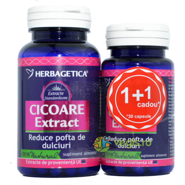 Cicoare Extract 60cps+30cps Pachet 1+1 Promo HERBAGETICA
