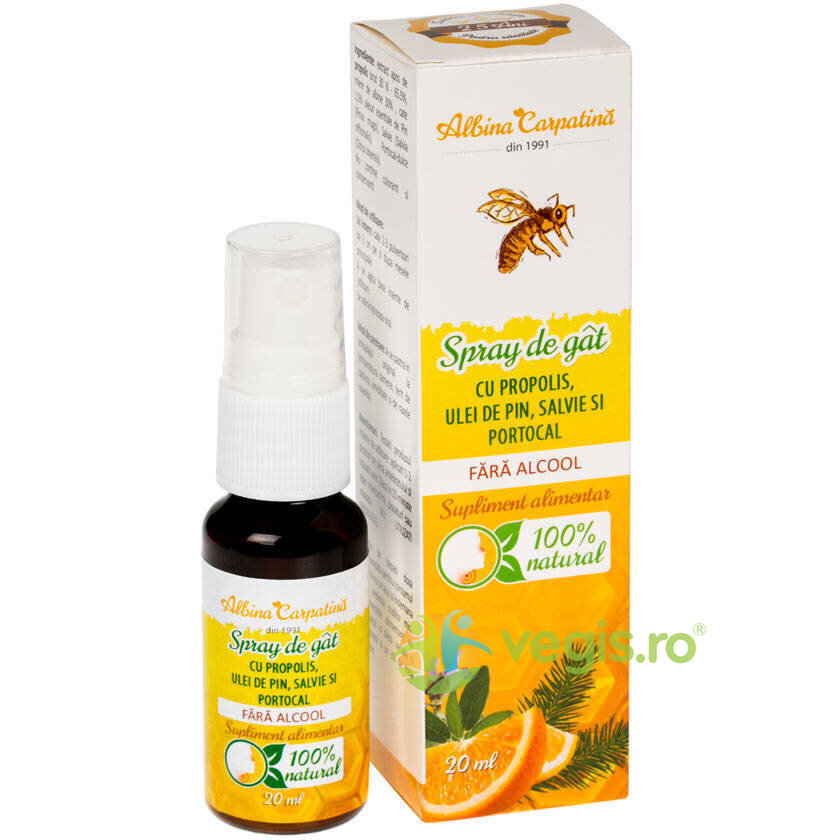 ALBINA CARPATINA Spray de Gat cu Propolis, Pin, Salvie si Portocal fara Alcool 20ml