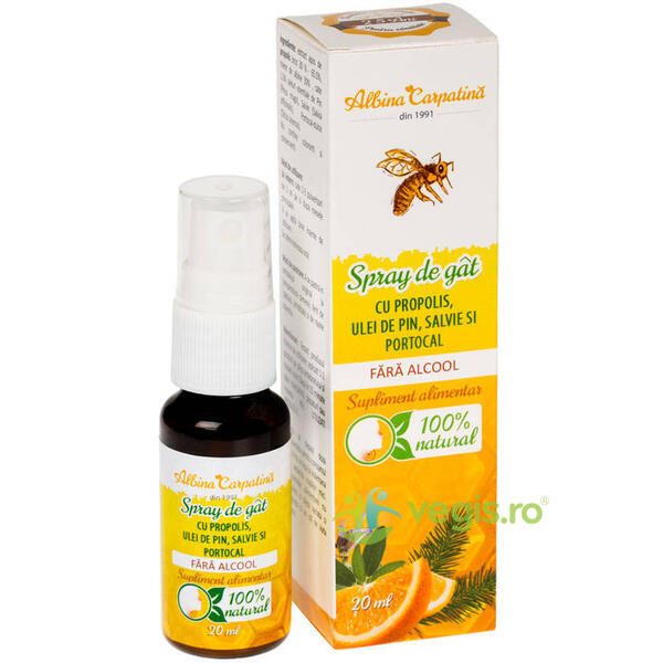 Spray de Gat cu Propolis, Pin, Salvie si Portocal fara Alcool 20ml ALBINA CARPATINA