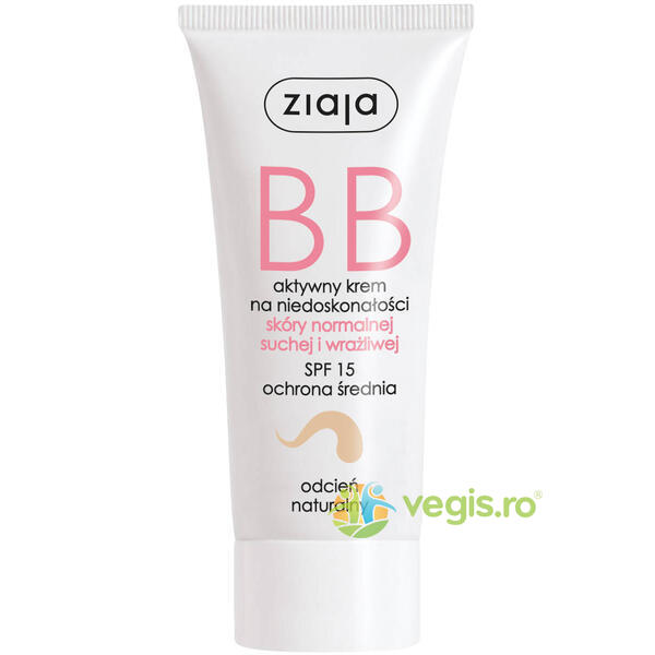 BB Cream Pentru Ten Normal, Uscat Si Sensibil SPF 15 - Natural 50ml ZIAJA