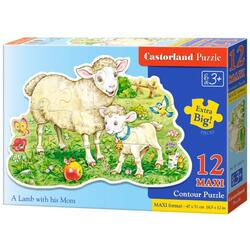 Puzzle 12 Maxi - A Lamb with his Mom CASTORLAND