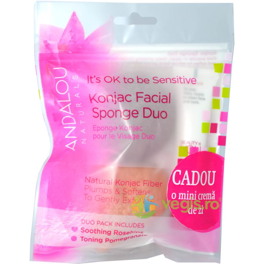 Burete Konjac Facial 2buc. + Crema 1000 Roses Beautiful Day Cream 12ml GRATIS