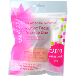 Burete Konjac Facial 2buc. + Crema 1000 Roses Beautiful Day Cream 12ml GRATIS ANDALOU NATURALS