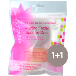 Burete Konjac Facial 2buc. + Crema 1000 Roses Beautiful Day Cream 12ml ANDALOU NATURALS