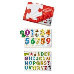 Set 2 Puzzle lemn in husa: litere si numere. Melissa and Doug