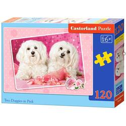 Puzzle 120 Castorland - Two Doggies in Pink