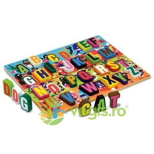 Puzzle lemn in relief Litere – Melissa and Doug