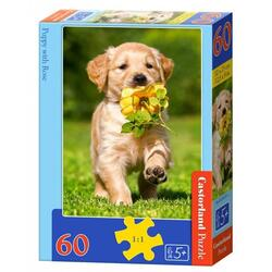 Puzzle 60 Castorland - Puppy with rose