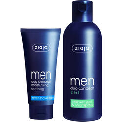 Pachet 1+1 Gratis Ziaja MEN: Balsam Calmant Dupa Barbierit 75ml + 2 In 1 Gel De Dus & Sampon 300ml