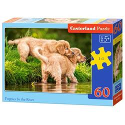 Puzzle 60 Castorland - Puppies by the River