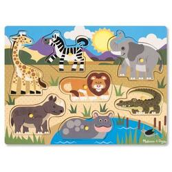 Puzzle din lemn. Animalele safari 2 ani+ Melissa and Doug