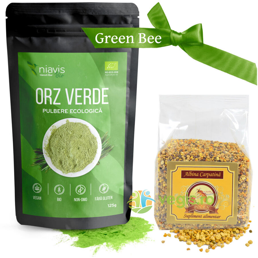 Pachet Smoothie Green Bee ( Pulbere Orz Verde Eco/Bio 125g + Polen granule 100g) thumbnail