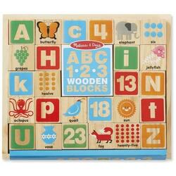 ABC, 1.2.3. Wooden blocks. Cuburi din lemn, Alfabetul MELISSA AND DOUG