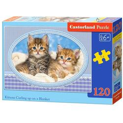 Puzzle 120 Castorland - Kittens Curling Up on a Blanket